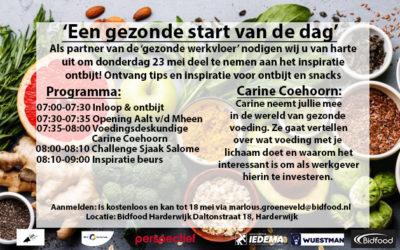 Inspiratieontbijt Een gezonde start op 23 mei a.s.